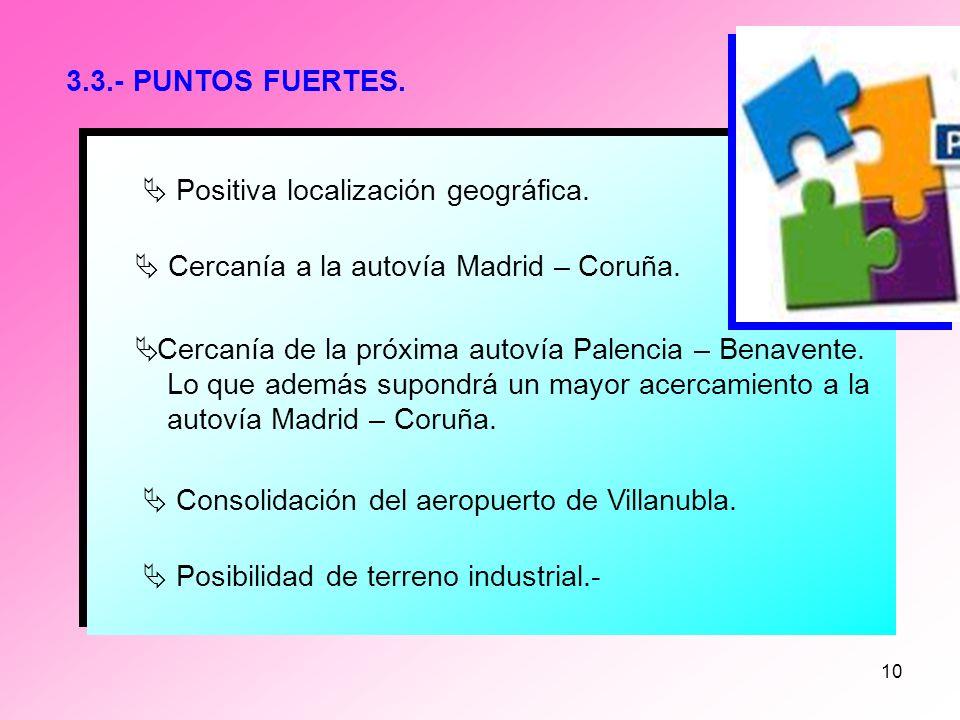 3.3.- PUNTOS FUERTES. Positiva localización geográfica.  Cercanía a la autovía Madrid – Coruña.