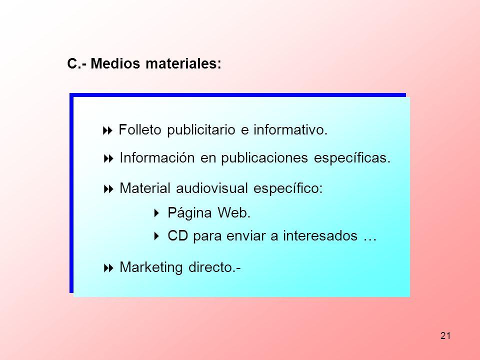 C.- Medios materiales:  Folleto publicitario e informativo.  Información en publicaciones específicas.