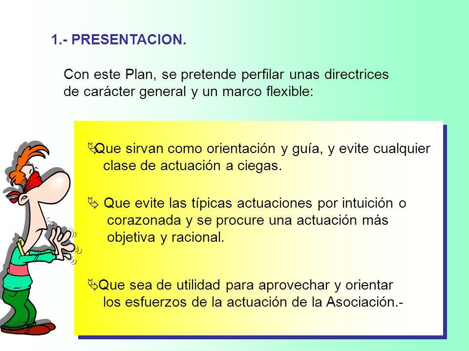 1.- PRESENTACION. Con este Plan, se pretende perfilar unas directrices. de carácter general y un marco flexible: