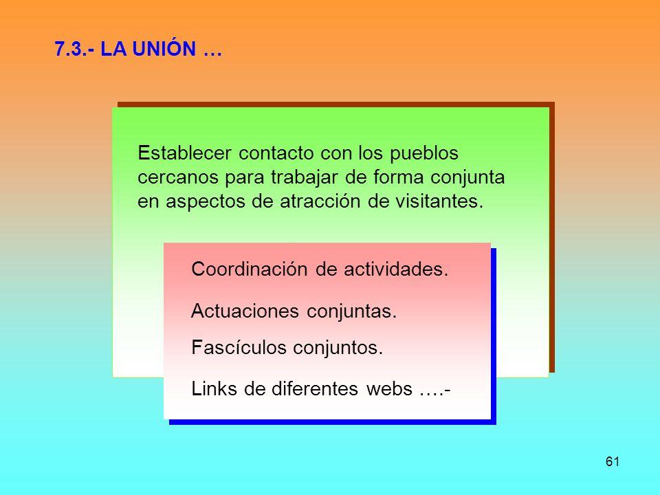 7.3.- LA UNIÓN … Establecer contacto con los pueblos. cercanos para trabajar de forma conjunta. en aspectos de atracción de visitantes.