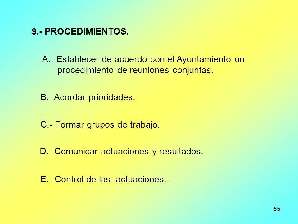 9.- PROCEDIMIENTOS. A.- Establecer de acuerdo con el Ayuntamiento un. procedimiento de reuniones conjuntas.