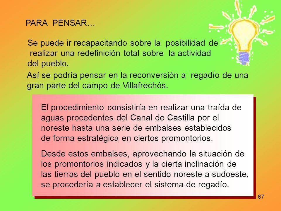 PARA PENSAR… Se puede ir recapacitando sobre la posibilidad de. realizar una redefinición total sobre la actividad.
