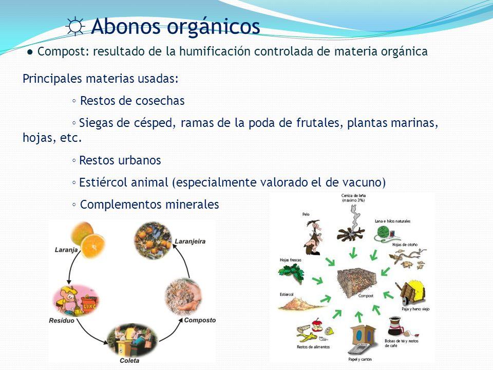 ☼ Abonos orgánicos ● Compost: resultado de la humificación controlada de materia orgánica. Principales materias usadas: