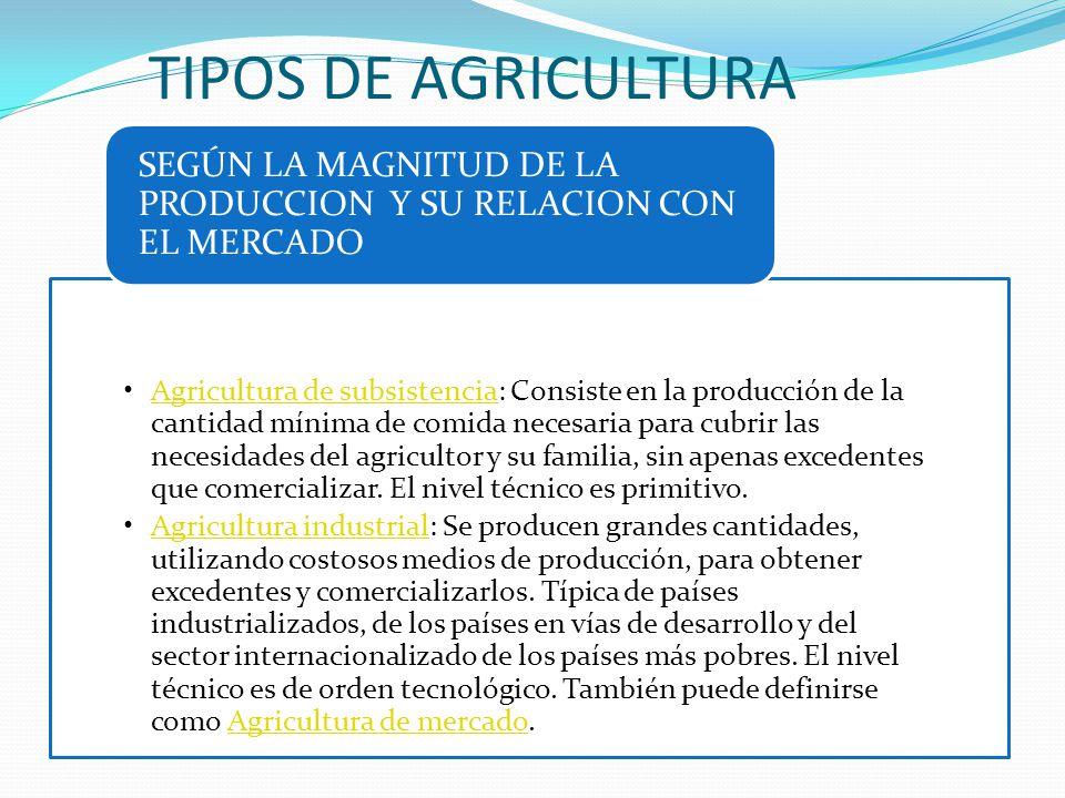 TIPOS DE AGRICULTURA SEGÚN LA MAGNITUD DE LA PRODUCCION Y SU RELACION CON EL MERCADO.