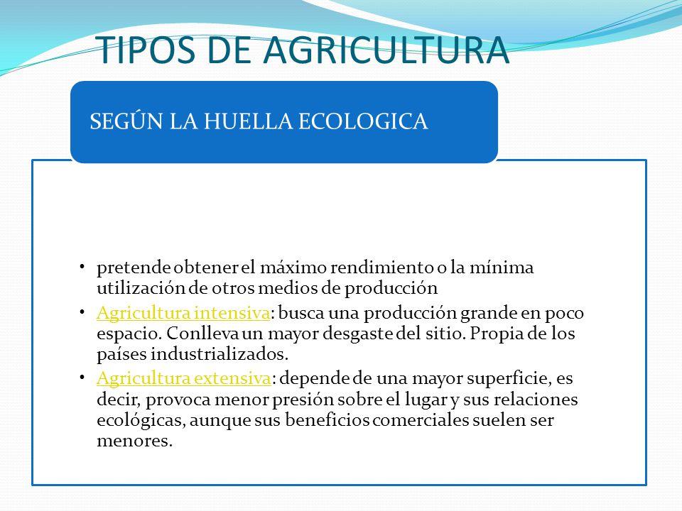 TIPOS DE AGRICULTURA SEGÚN LA HUELLA ECOLOGICA