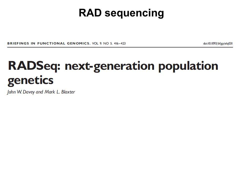 RAD sequencing
