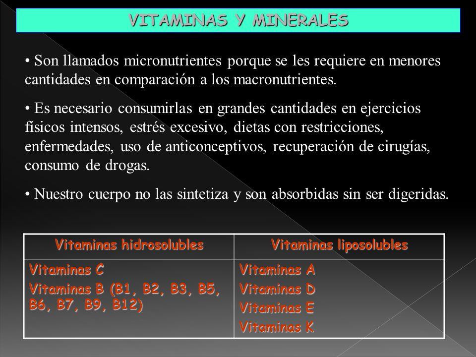 Vitaminas hidrosolubles Vitaminas liposolubles