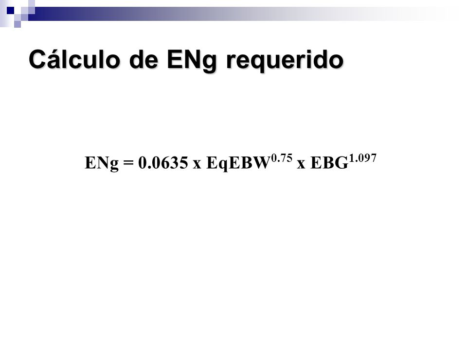Cálculo de ENg requerido