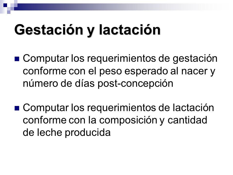 Gestación y lactación Computar los requerimientos de gestación conforme con el peso esperado al nacer y número de días post-concepción.