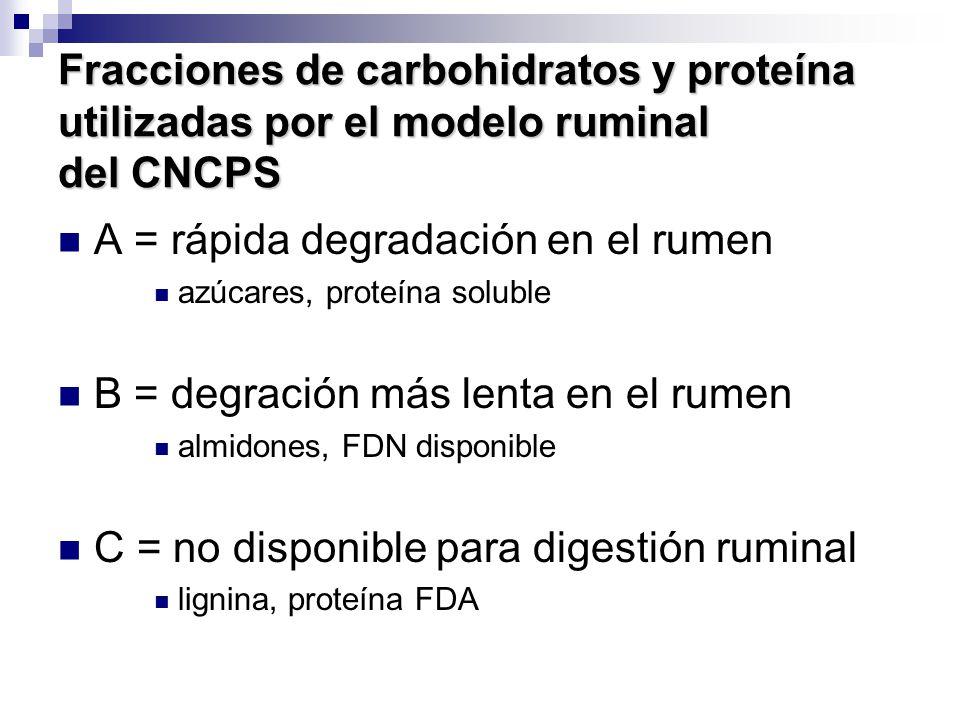 A = rápida degradación en el rumen