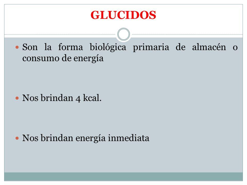 GLUCIDOS Son la forma biológica primaria de almacén o consumo de energía.