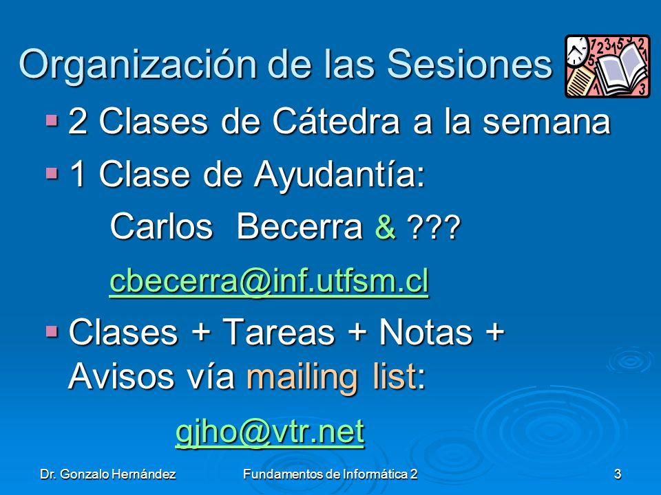 Organización de las Sesiones