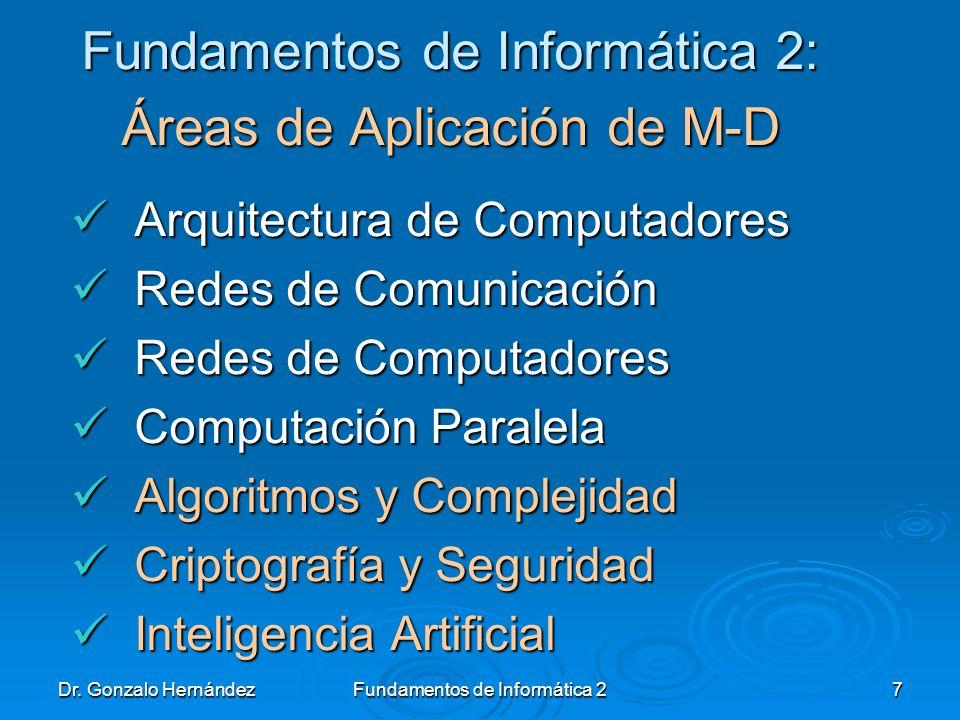 Fundamentos de Informática 2: Áreas de Aplicación de M-D