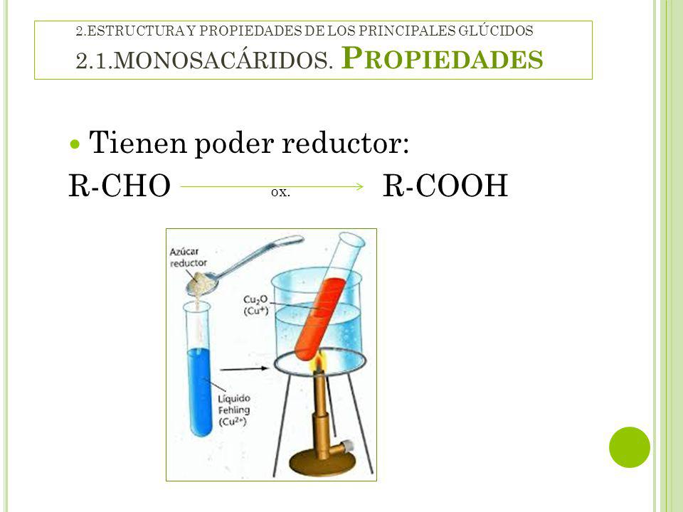 Tienen poder reductor: R-CHO ox. R-COOH