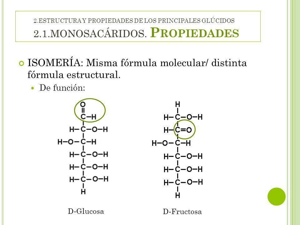 ISOMERÍA: Misma fórmula molecular/ distinta fórmula estructural.