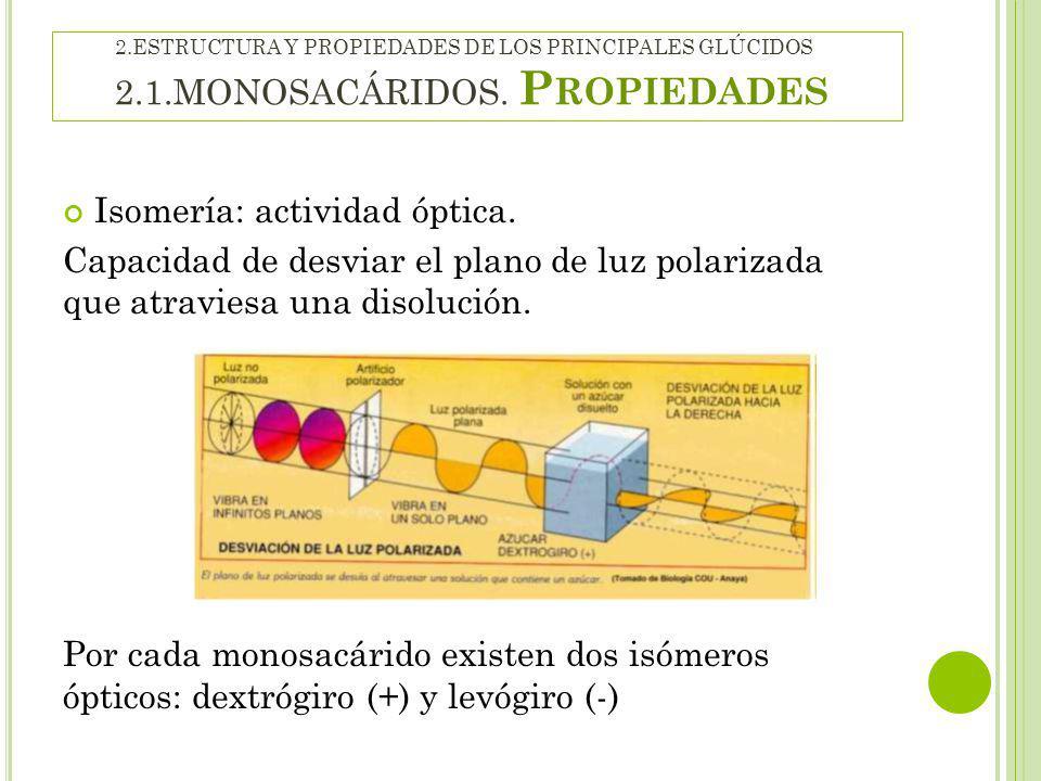 Isomería: actividad óptica.