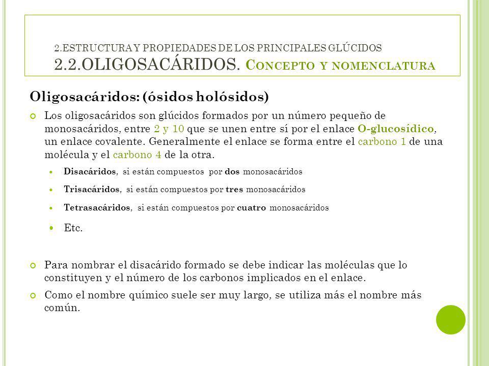 Oligosacáridos: (ósidos holósidos)