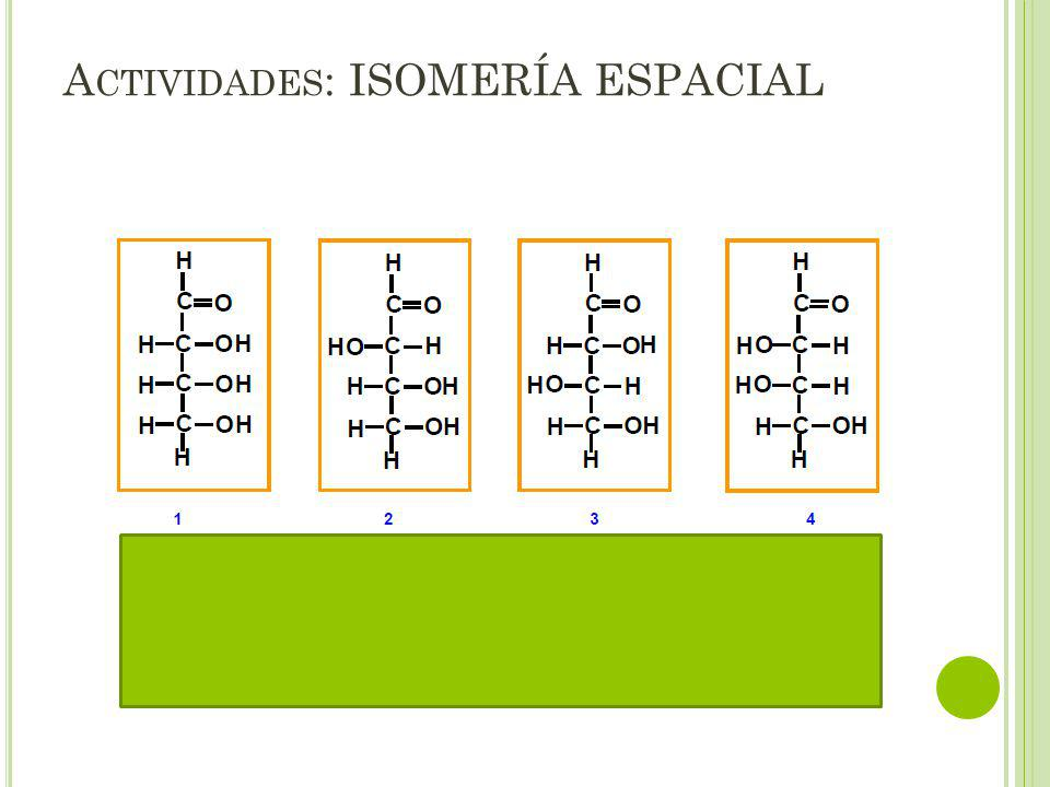 Actividades: ISOMERÍA ESPACIAL