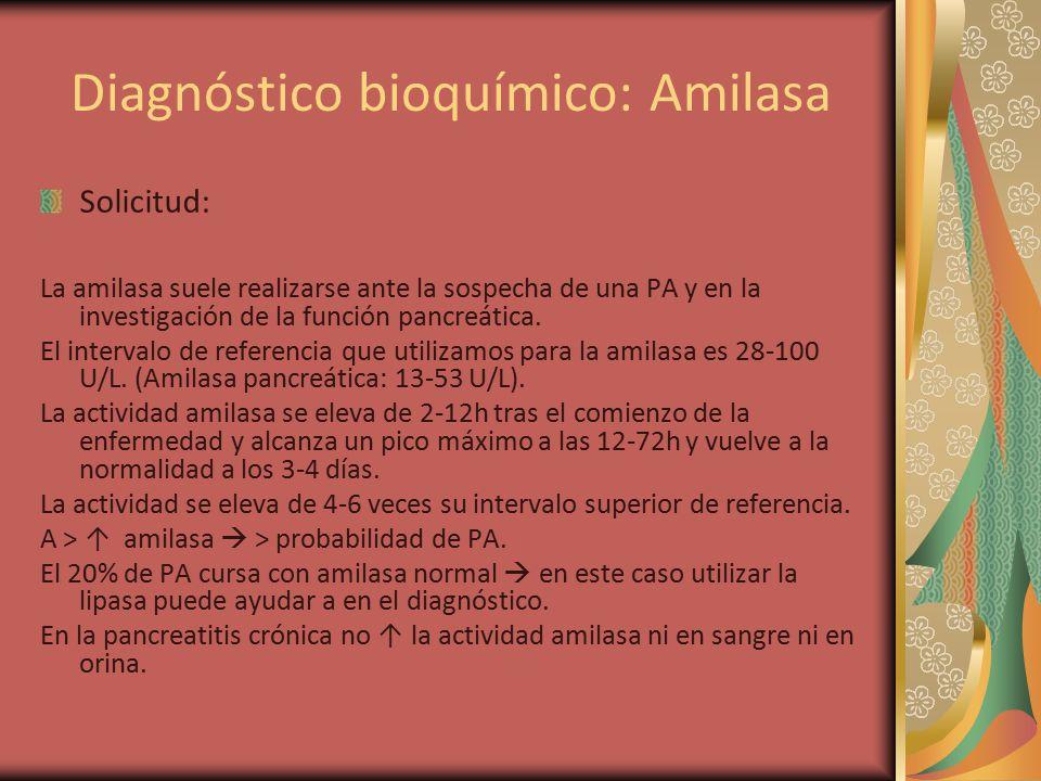 Diagnóstico bioquímico: Amilasa