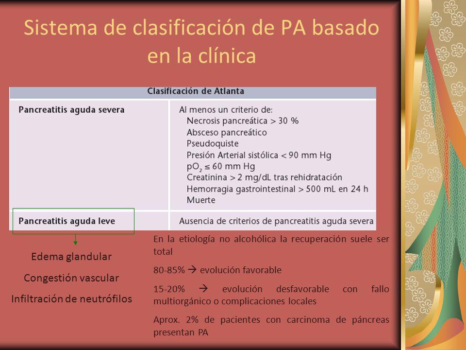 Sistema de clasificación de PA basado en la clínica