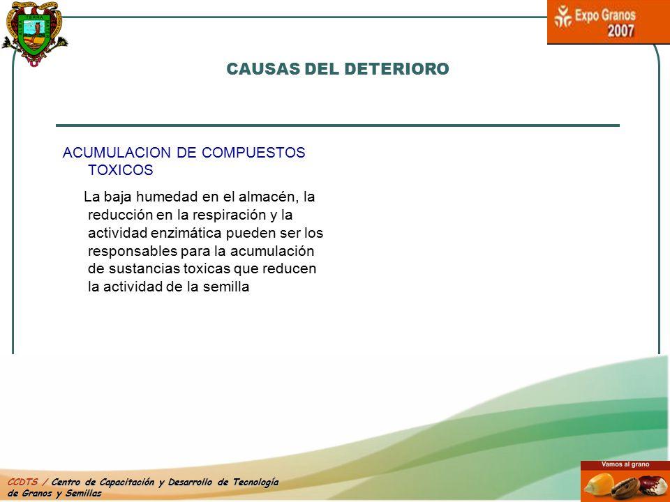 CAUSAS DEL DETERIORO ACUMULACION DE COMPUESTOS TOXICOS.
