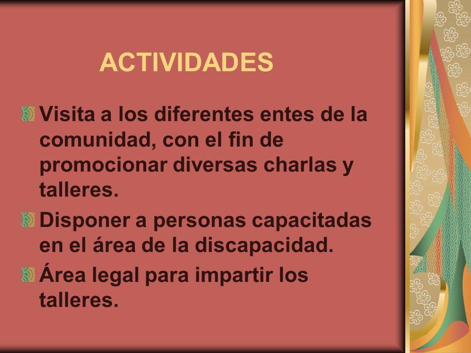 ACTIVIDADESVisita a los diferentes entes de la comunidad, con el fin de promocionar diversas charlas y talleres.