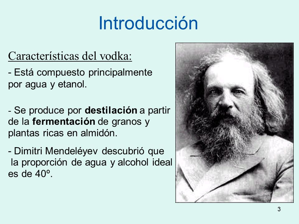 Introducción Características del vodka: