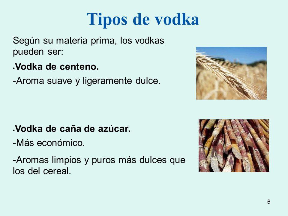 Tipos de vodka Según su materia prima, los vodkas pueden ser: