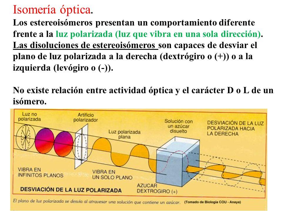 Isomería óptica. Los estereoisómeros presentan un comportamiento diferente frente a la luz polarizada (luz que vibra en una sola dirección).