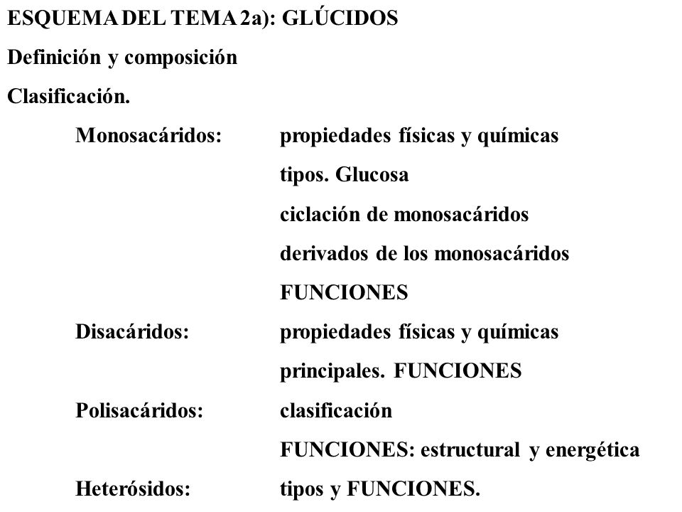 ESQUEMA DEL TEMA 2a): GLÚCIDOS