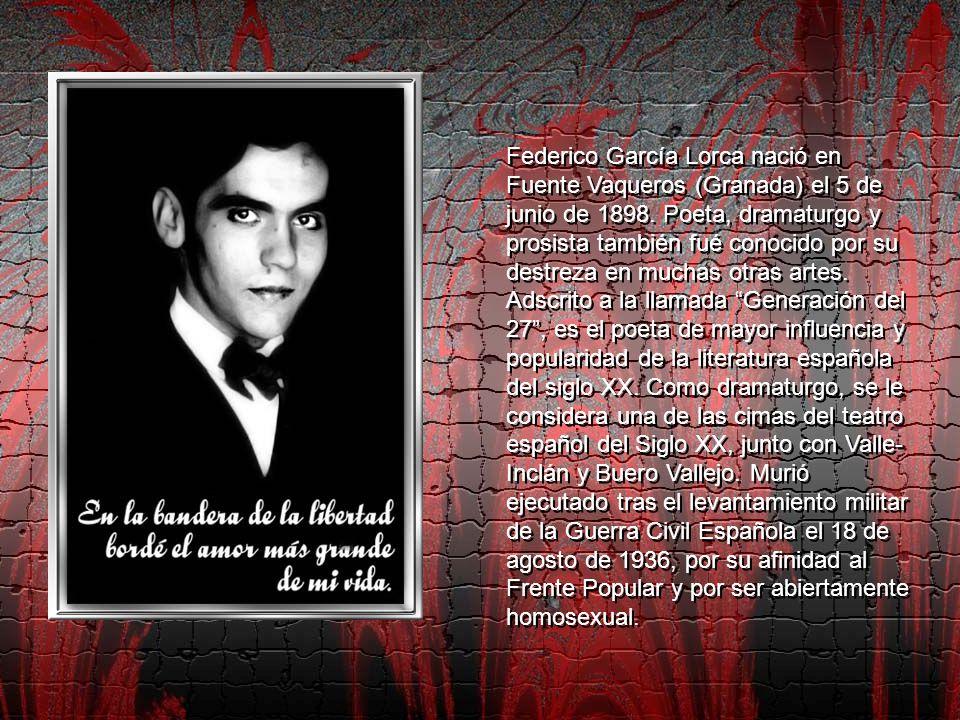 Federico García Lorca nació en Fuente Vaqueros (Granada) el 5 de junio de 1898.