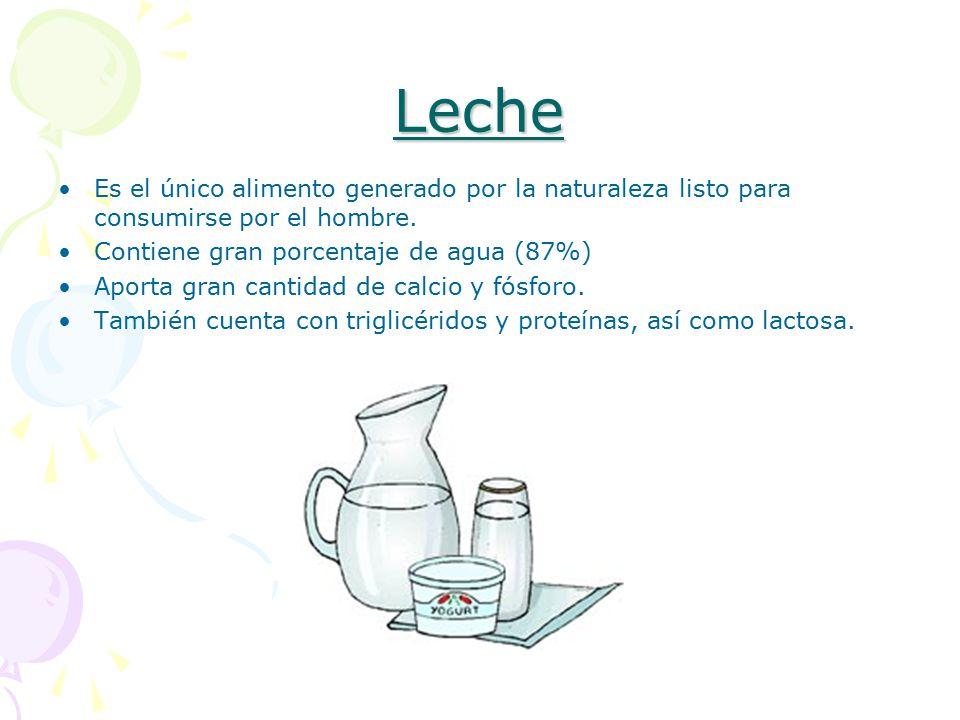 Leche Es el único alimento generado por la naturaleza listo para consumirse por el hombre. Contiene gran porcentaje de agua (87%)