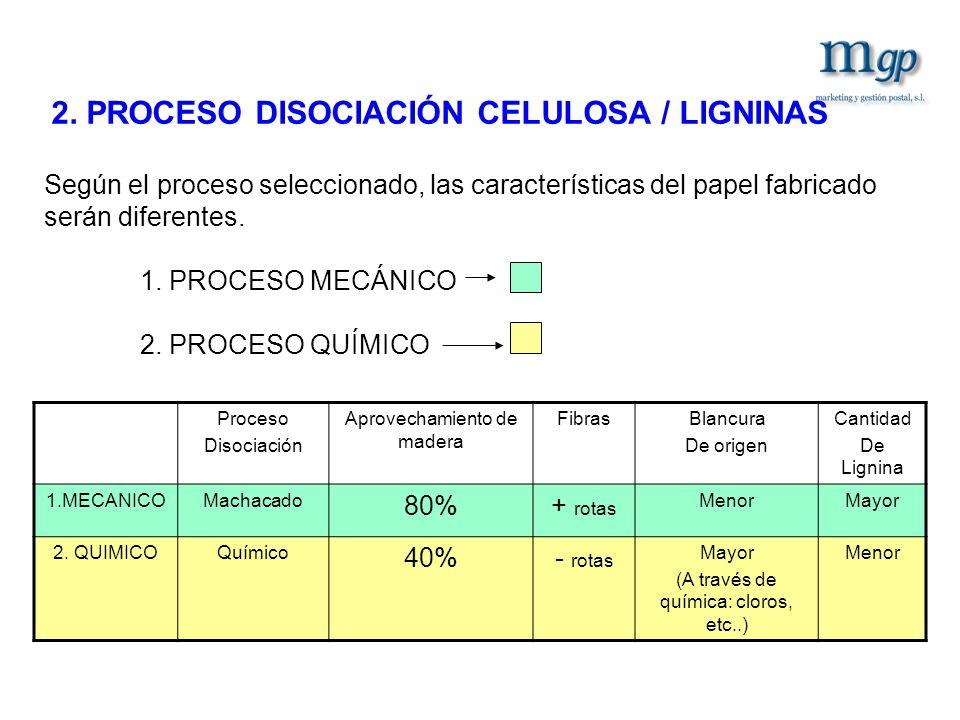 2. PROCESO DISOCIACIÓN CELULOSA / LIGNINAS