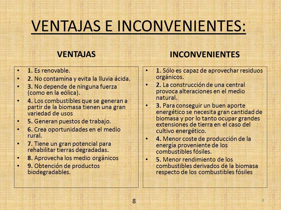 VENTAJAS E INCONVENIENTES: