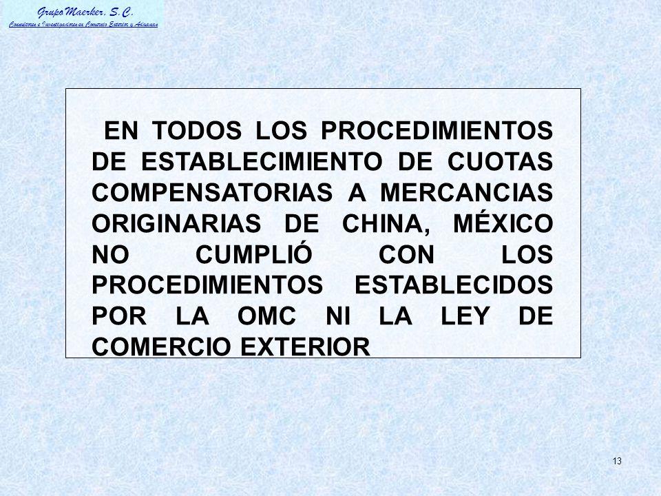 EN TODOS LOS PROCEDIMIENTOS DE ESTABLECIMIENTO DE CUOTAS COMPENSATORIAS A MERCANCIAS ORIGINARIAS DE CHINA, MÉXICO NO CUMPLIÓ CON LOS PROCEDIMIENTOS ESTABLECIDOS POR LA OMC NI LA LEY DE COMERCIO EXTERIOR