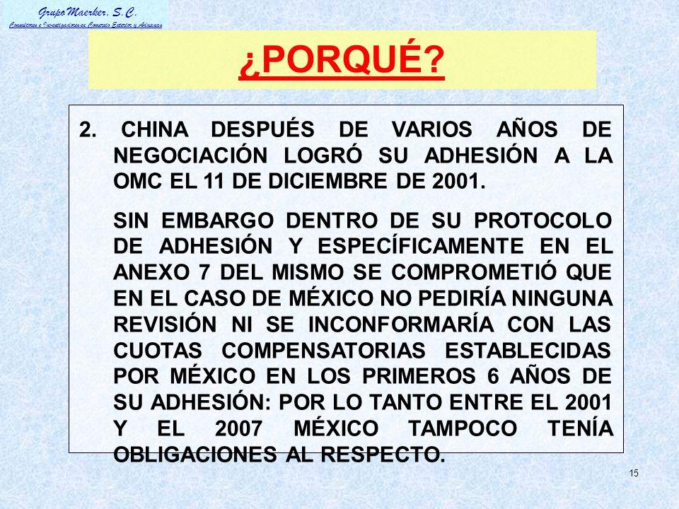 ¿PORQUÉ 2. CHINA DESPUÉS DE VARIOS AÑOS DE NEGOCIACIÓN LOGRÓ SU ADHESIÓN A LA OMC EL 11 DE DICIEMBRE DE 2001.