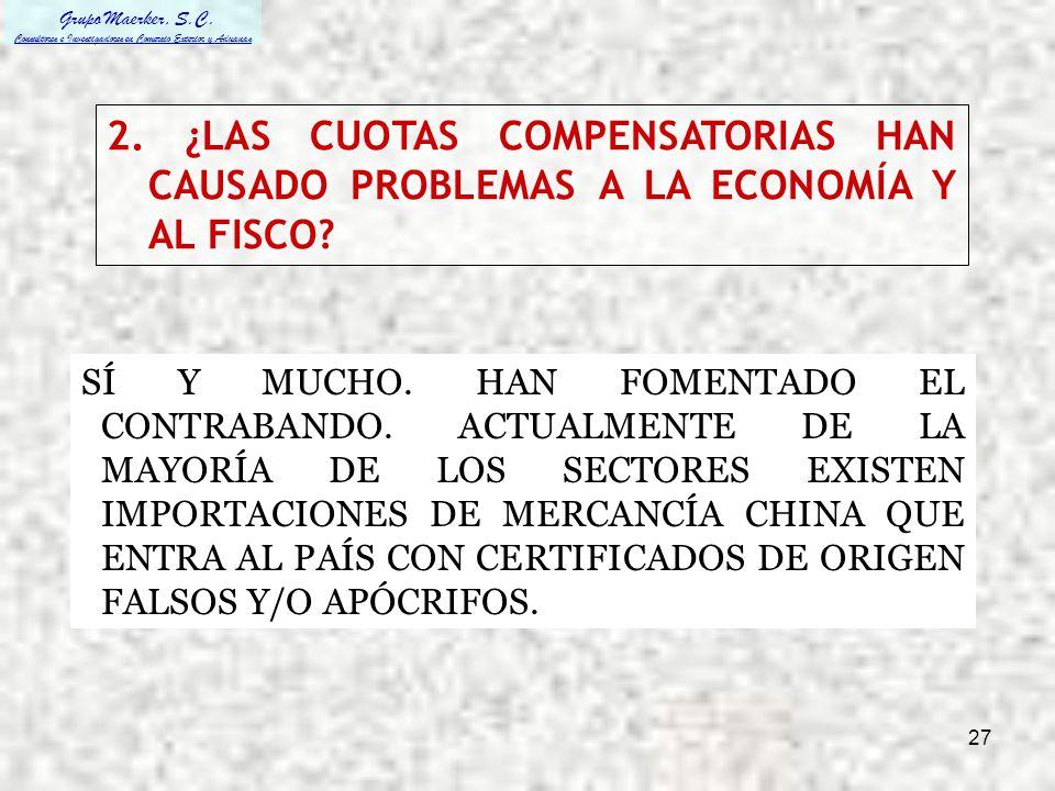2. ¿LAS CUOTAS COMPENSATORIAS HAN CAUSADO PROBLEMAS A LA ECONOMÍA Y AL FISCO