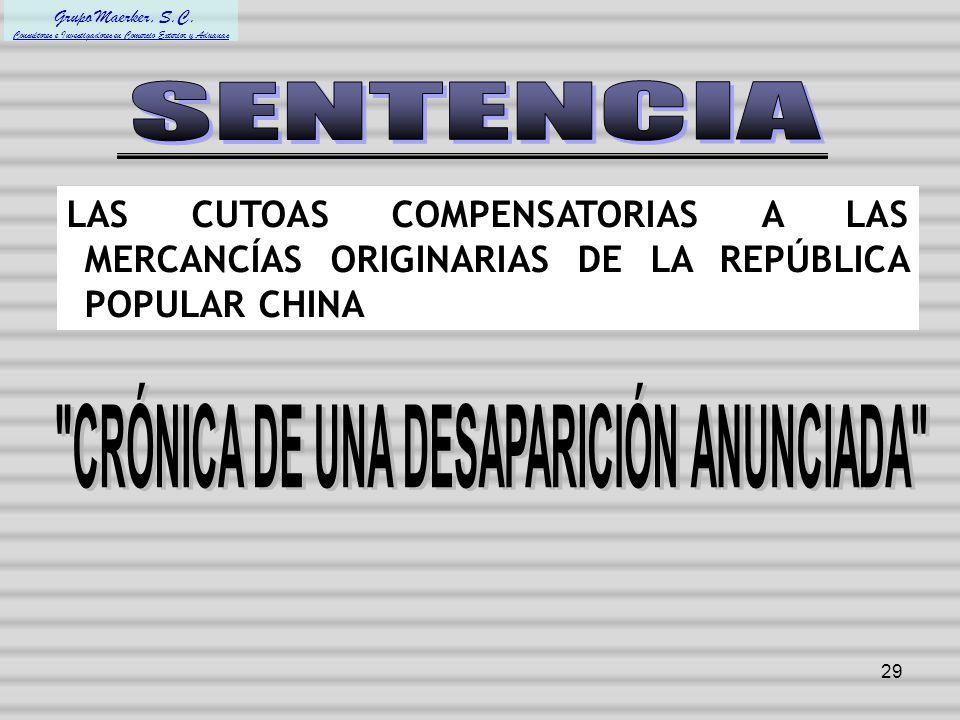 CRÓNICA DE UNA DESAPARICIÓN ANUNCIADA