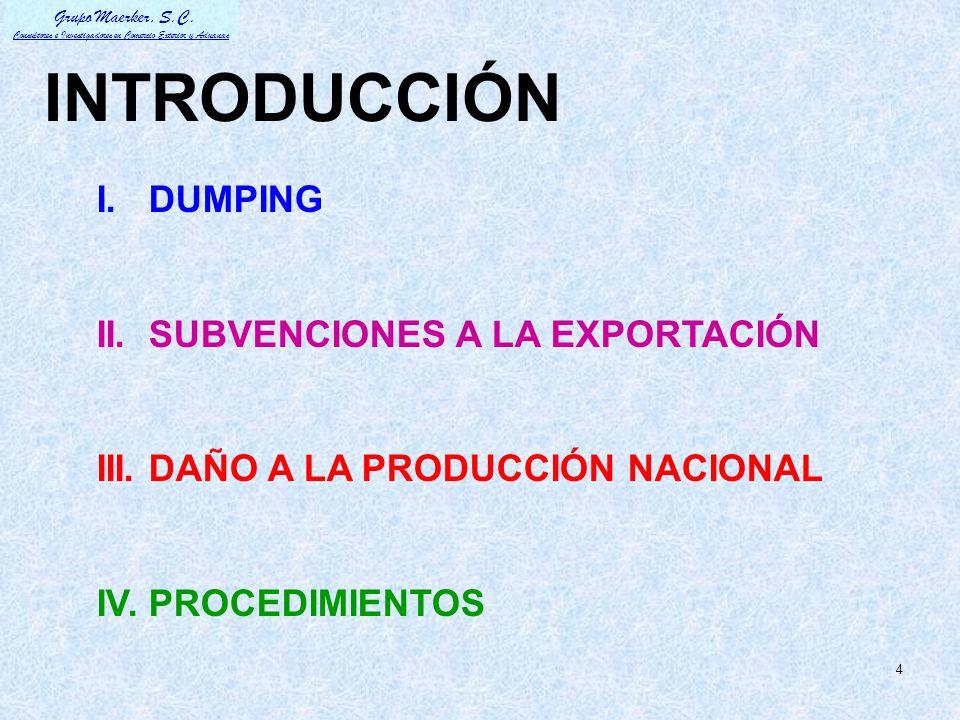 INTRODUCCIÓN I. DUMPING II. SUBVENCIONES A LA EXPORTACIÓN