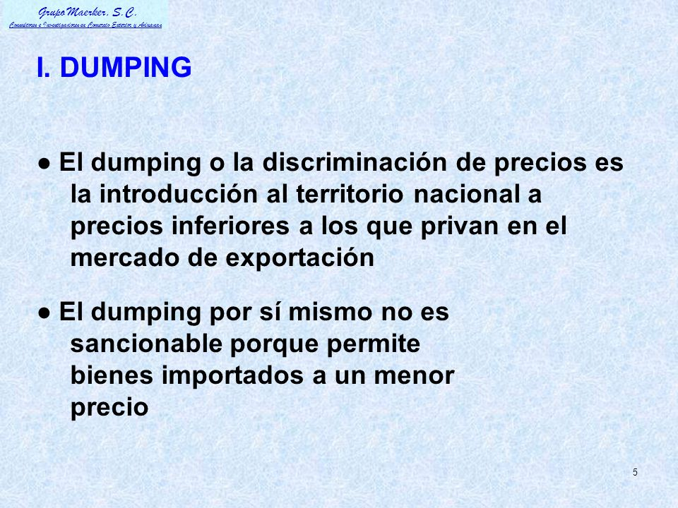 I. DUMPING