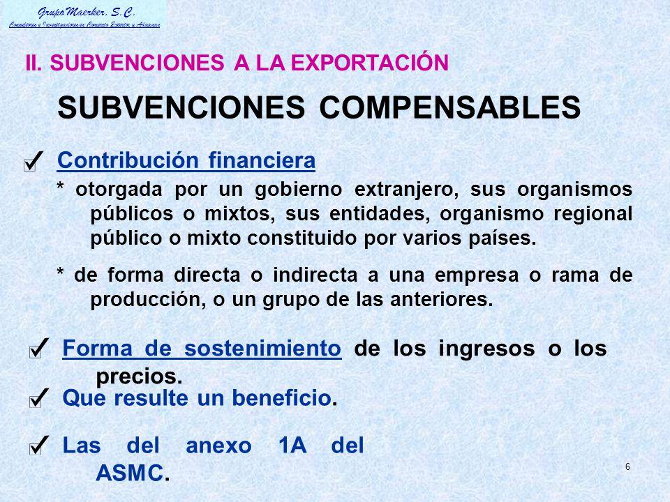 SUBVENCIONES COMPENSABLES