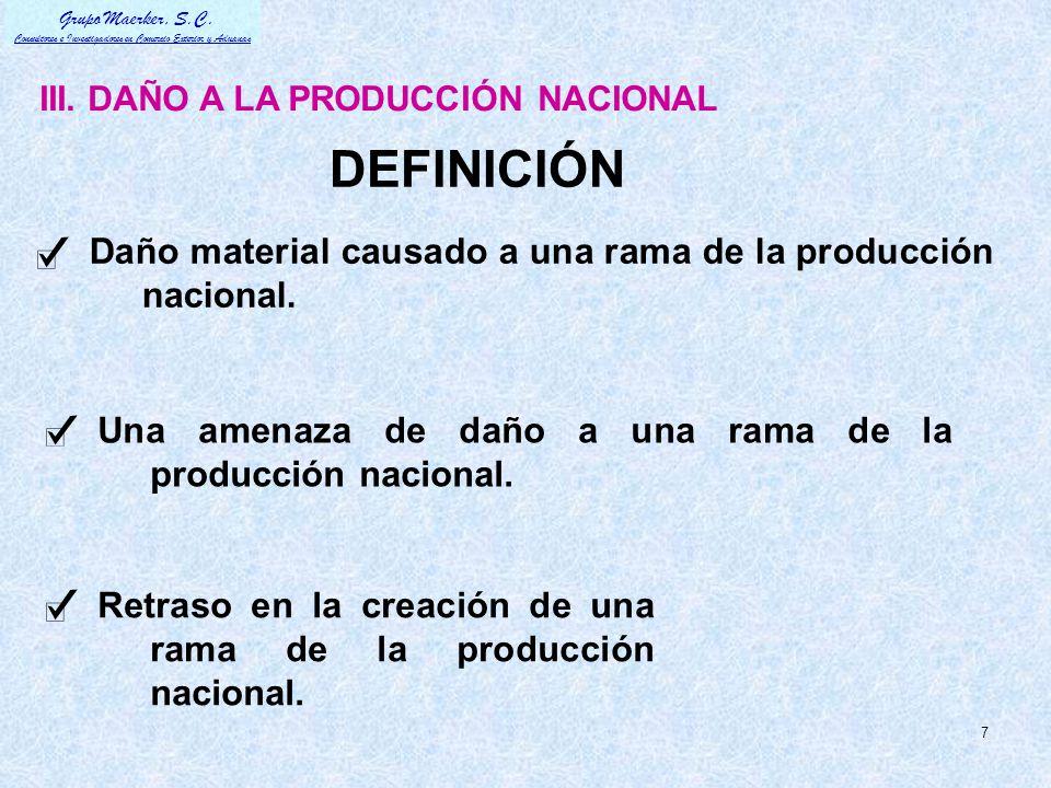 DEFINICIÓN Daño material causado a una rama de la producción nacional.