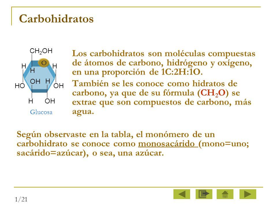 Carbohidratos Los carbohidratos son moléculas compuestas de átomos de carbono, hidrógeno y oxígeno, en una proporción de 1C:2H:1O.