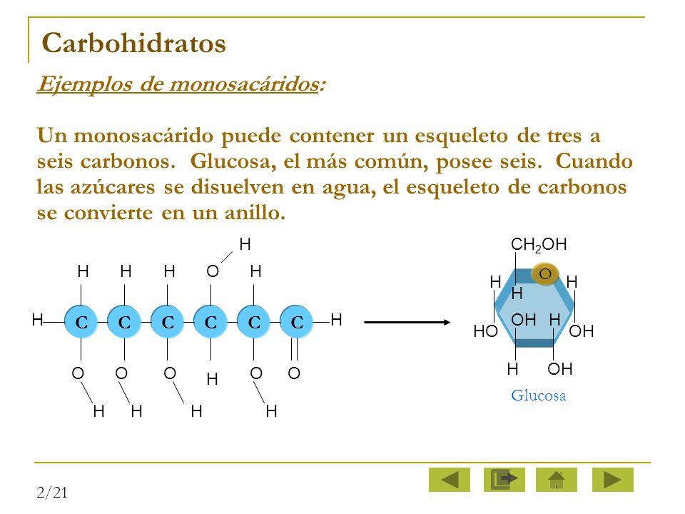Carbohidratos Ejemplos de monosacáridos: