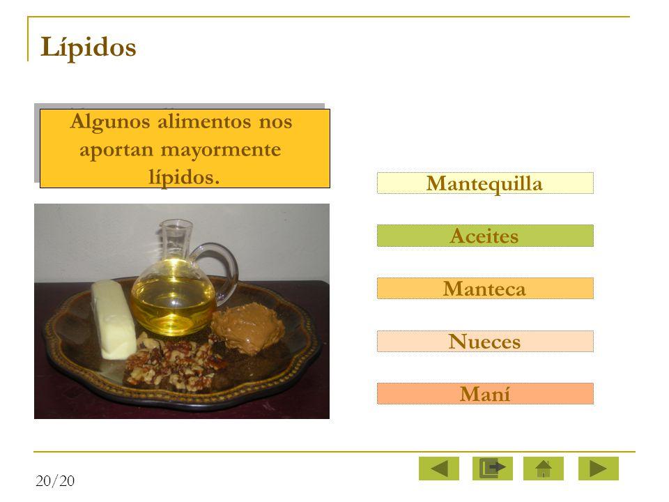 Lípidos Algunos alimentos nos aportan mayormente lípidos. Mantequilla