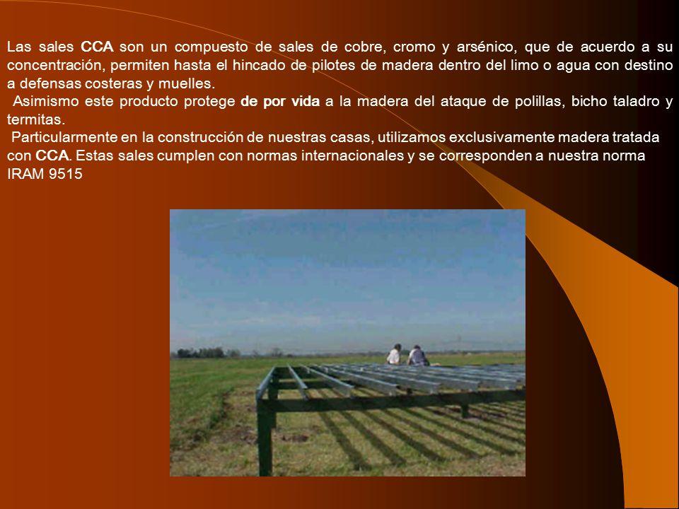 Las sales CCA son un compuesto de sales de cobre, cromo y arsénico, que de acuerdo a su concentración, permiten hasta el hincado de pilotes de madera dentro del limo o agua con destino a defensas costeras y muelles.