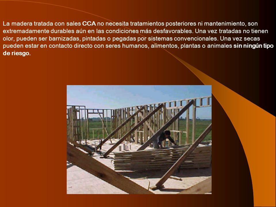 La madera tratada con sales CCA no necesita tratamientos posteriores ni mantenimiento, son extremadamente durables aún en las condiciones más desfavorables.