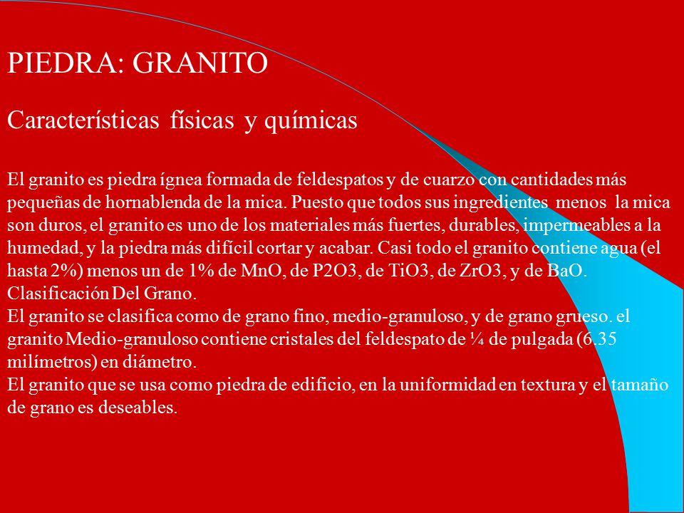 PIEDRA: GRANITO Características físicas y químicas