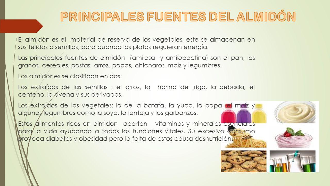 PRINCIPALES FUENTES DEL ALMIDÓN