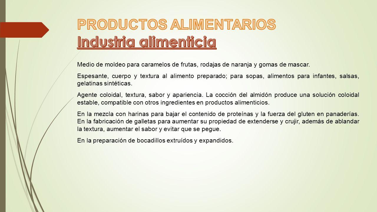PRODUCTOS ALIMENTARIOS Industria alimenticia